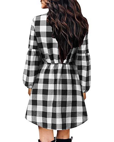 YOINS Womens Jumper Dresses Plaid Dress Check Dresses for Women Long Sleeve Tartan Cocktail Dresses with Pocket 5