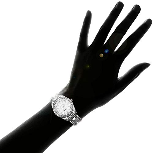 YOSIMI Woman Watch Quartz Waterproof 30M Steel Bracelet Luminous Sapphire Easy Read Roma Numbers White Dial 5