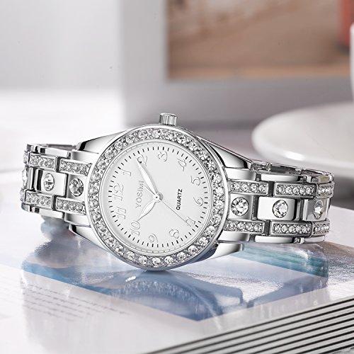 YOSIMI Woman Watch Quartz Waterproof 30M Steel Bracelet Luminous Sapphire Easy Read Roma Numbers White Dial 7