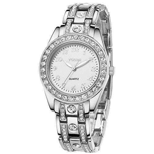 YOSIMI Woman Watch Quartz Waterproof 30M Steel Bracelet Luminous Sapphire Easy Read Roma Numbers White Dial 1