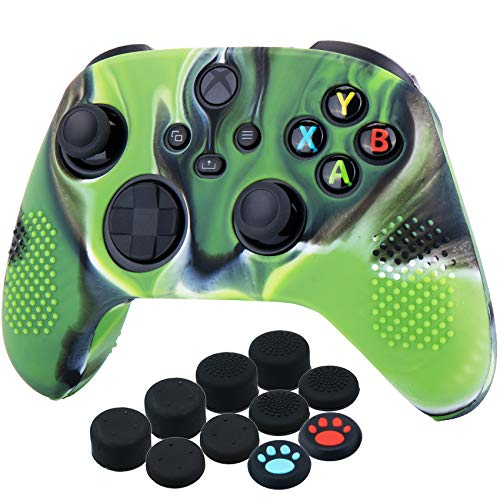 YoRHa Dots Cover Skin Case for Xbox Series X/S Controller x 1(Camouflage Green) with Thumb Grips x 10 1