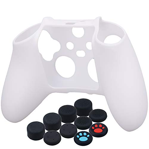 YoRHa Thickened Cover Skin Case for Xbox Series X/S Controller x 1(White) with Thumb Grips x 10 3