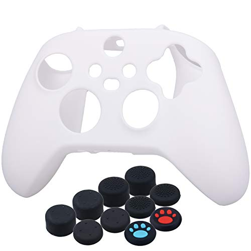 YoRHa Thickened Cover Skin Case for Xbox Series X/S Controller x 1(White) with Thumb Grips x 10 1
