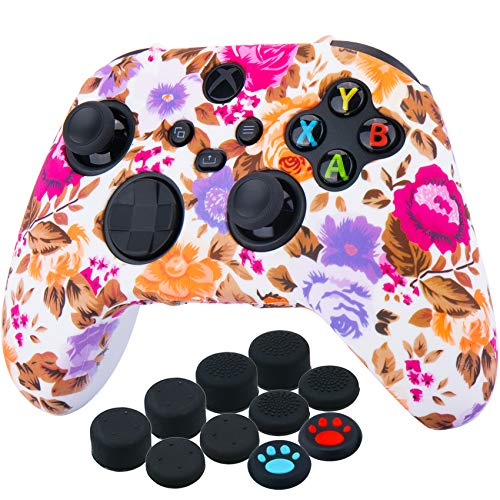 YoRHa Thickened Printing Cover Skin Case for Xbox Series X/S Controller x 1(Flowers) with Thumb Grips x 10 1