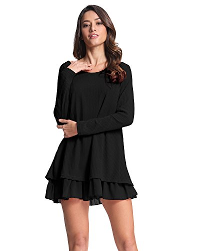 ZANZEA Women Dress Jumpers Knit Sweater Ladies Long Sleeve Tops Lace Swing Wedding Dress Pullover Evening Party Bow… 4