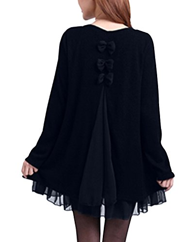 ZANZEA Women Dress Jumpers Knit Sweater Ladies Long Sleeve Tops Lace Swing Wedding Dress Pullover Evening Party Bow… 5