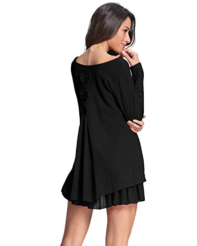 ZANZEA Women Dress Jumpers Knit Sweater Ladies Long Sleeve Tops Lace Swing Wedding Dress Pullover Evening Party Bow… 8