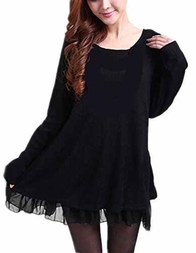 ZANZEA Women Dress Jumpers Knit Sweater Ladies Long Sleeve Tops Lace Swing Wedding Dress Pullover Evening Party Bow… 1
