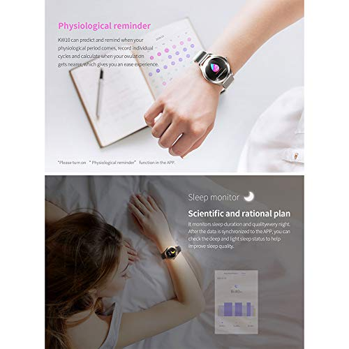 ZDY Smart Watch KW10, Round Touch Screen IP68 Waterproof Smartwatch for Women's Period, Fitness Tracker with Heart Rate… 7