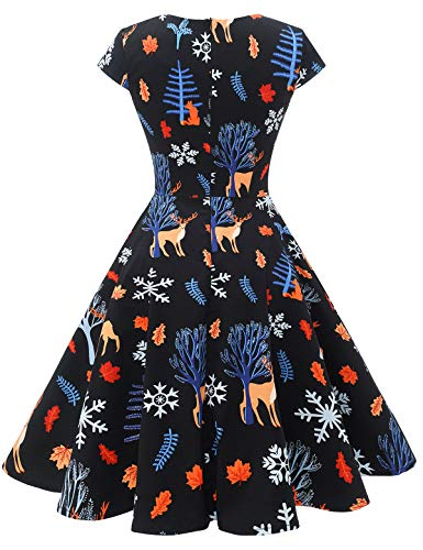 bbonlinedress Women's 50s 60s A Line Rockabilly Dress Cap Sleeve Vintage Swing Party Dress 3