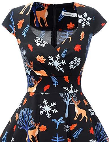 bbonlinedress Women's 50s 60s A Line Rockabilly Dress Cap Sleeve Vintage Swing Party Dress 4
