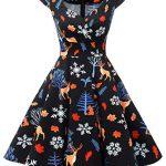 bbonlinedress Women's 50s 60s A Line Rockabilly Dress Cap Sleeve Vintage Swing Party Dress 17