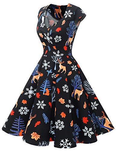 bbonlinedress Women's 50s 60s A Line Rockabilly Dress Cap Sleeve Vintage Swing Party Dress 5