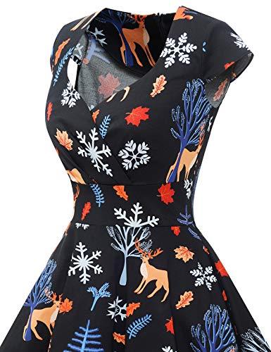 bbonlinedress Women's 50s 60s A Line Rockabilly Dress Cap Sleeve Vintage Swing Party Dress 7