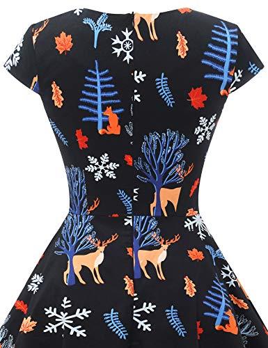 bbonlinedress Women's 50s 60s A Line Rockabilly Dress Cap Sleeve Vintage Swing Party Dress 8
