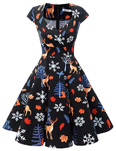 bbonlinedress Women's 50s 60s A Line Rockabilly Dress Cap Sleeve Vintage Swing Party Dress 1
