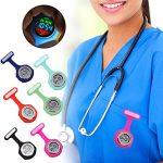 beautijiam Women Silicone Digital Display Dial Nurse Watch Lapel Hanging Electric Pocket Fob Watch 23