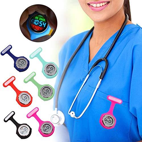 beautijiam Women Silicone Digital Display Dial Nurse Watch Lapel Hanging Electric Pocket Fob Watch 4