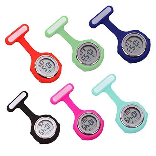 beautijiam Women Silicone Digital Display Dial Nurse Watch Lapel Hanging Electric Pocket Fob Watch 6