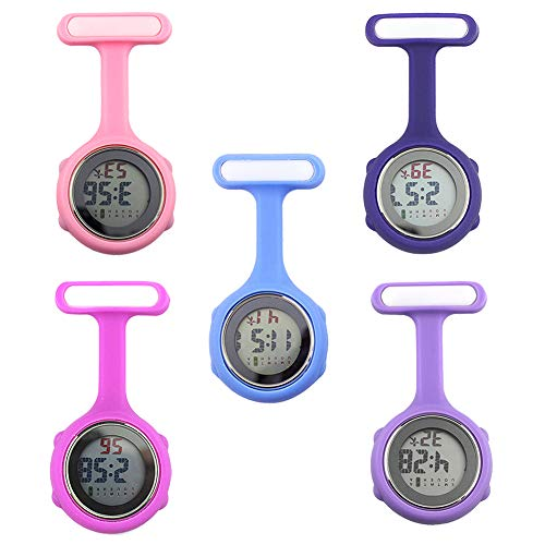 beautijiam Women Silicone Digital Display Dial Nurse Watch Lapel Hanging Electric Pocket Fob Watch 9