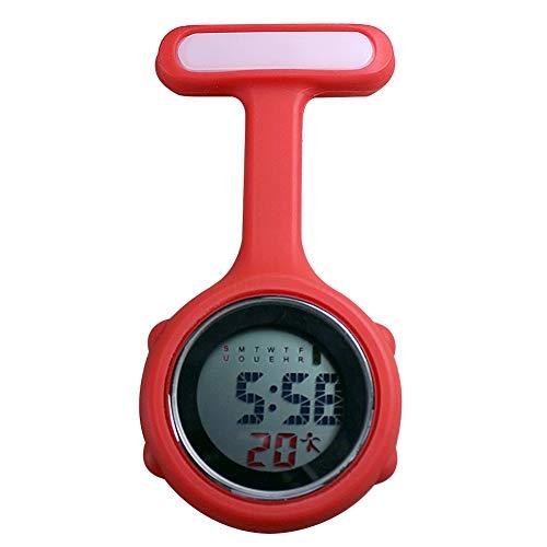 beautijiam Women Silicone Digital Display Dial Nurse Watch Lapel Hanging Electric Pocket Fob Watch 10