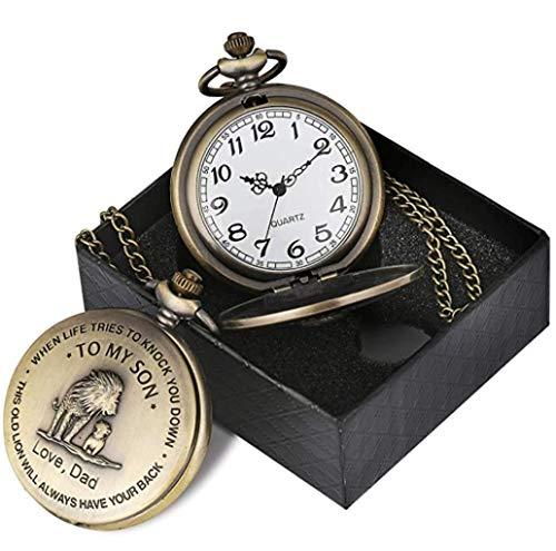 eBoutik - Mens FOB Pocket Watch, Vintage Style Pocket Watch with Chain, Pendant Pocket Watch for Son Greatest Dad… 9