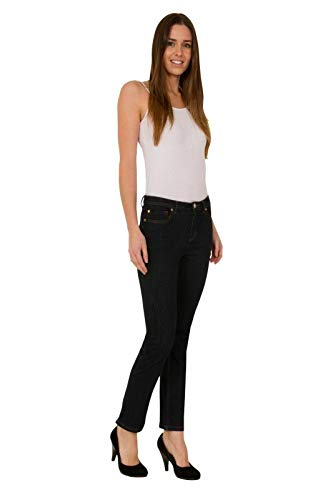 exfaMouSstore Ladies Mid Waist Pockets Womens Slim Fit Stretch Denim Jeans 1
