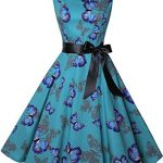 ihot Women's Vintage 1950s Classy Rockabilly Retro Floral Pattern Print Cocktail Evening Swing Party Dress 17