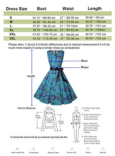 ihot Women's Vintage 1950s Classy Rockabilly Retro Floral Pattern Print Cocktail Evening Swing Party Dress 5