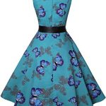 ihot Women's Vintage 1950s Classy Rockabilly Retro Floral Pattern Print Cocktail Evening Swing Party Dress 21