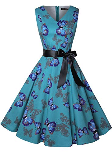 ihot Women's Vintage 1950s Classy Rockabilly Retro Floral Pattern Print Cocktail Evening Swing Party Dress 1