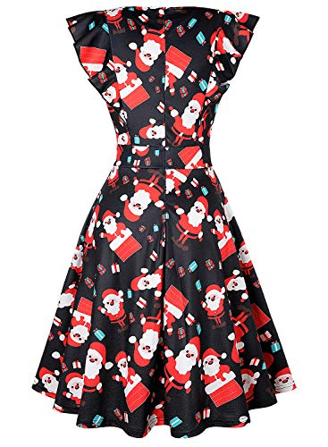 ihot Women's Vintage Ruffle Floral Flared A Line Swing Casual Cocktail Party Dresses with Pockets 4