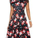 ihot Women's Vintage Ruffle Floral Flared A Line Swing Casual Cocktail Party Dresses with Pockets 17