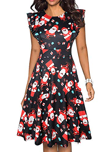ihot Women's Vintage Ruffle Floral Flared A Line Swing Casual Cocktail Party Dresses with Pockets 1