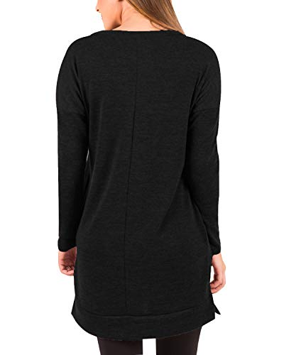 kenoce Women's Jumper Dress Long Sleeve V-Neck Tunic Sweatshirt Tops Loose Long Jumper Pullover Causal T-Shirt Dress… 4