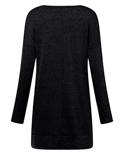 kenoce Women's Jumper Dress Long Sleeve V-Neck Tunic Sweatshirt Tops Loose Long Jumper Pullover Causal T-Shirt Dress… 6