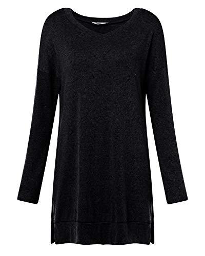 kenoce Women's Jumper Dress Long Sleeve V-Neck Tunic Sweatshirt Tops Loose Long Jumper Pullover Causal T-Shirt Dress… 7