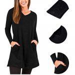 kenoce Women's Jumper Dress Long Sleeve V-Neck Tunic Sweatshirt Tops Loose Long Jumper Pullover Causal T-Shirt Dress… 23