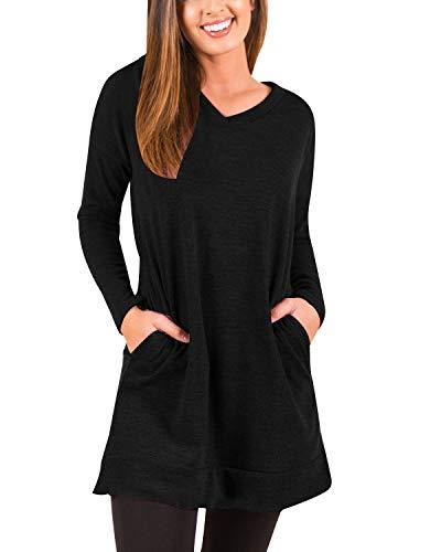 kenoce Women's Jumper Dress Long Sleeve V-Neck Tunic Sweatshirt Tops Loose Long Jumper Pullover Causal T-Shirt Dress… 1