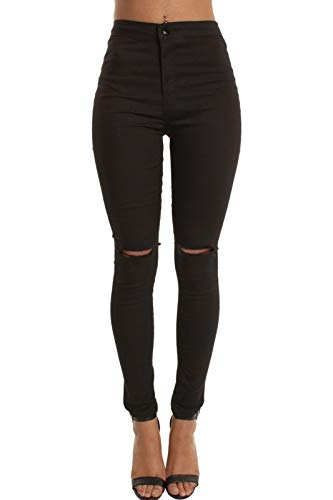momokrom New Ladies Skinny High Waisted Tube Jeans Jeggings Stretch Denim Knee Ripped Cut Out UK Size 6-16 1