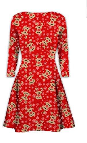 mymixtrendz Womens Christmas Swing Dress Girls Gift Candy Ladies Gingerbread Snowman Smock Reindeer Skater Mini Dress… 1