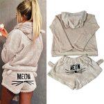 2pcs Women Cat Pajamas Cute Girls Sleepwear Soft Bathrobe Shorts Winter Lounge Sleepwear Sets 14