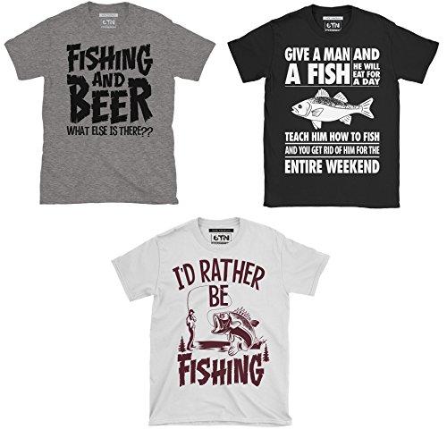 6TN Mens Triple Pack of Mens Fishing/Angling Themed T-Shirts 1