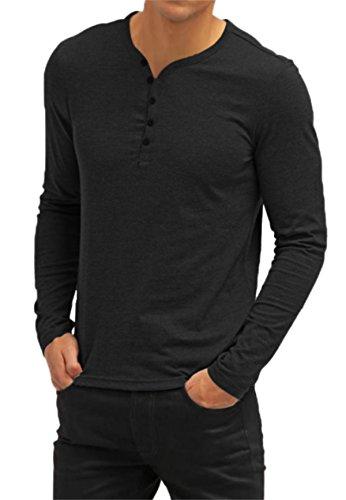 AIYINO Mens Casual V-Neck Long Sleeve T-Shirts/Long Sleeve Polo Shirts 1