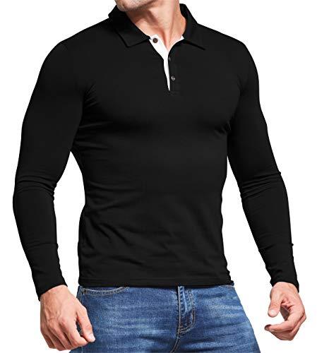 AIYINO Men's Polo Shirt Short/Long Sleeve Polo Tee Contrasting Colors Golf Tennis T-Shirt 4
