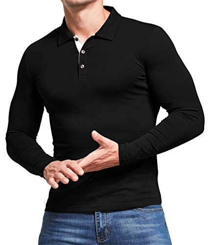 AIYINO Men's Polo Shirt Short/Long Sleeve Polo Tee Contrasting Colors Golf Tennis T-Shirt 5