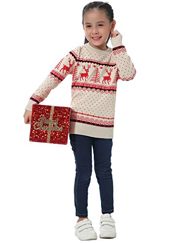Abollria Women Jumpers Christmas Reindeer Long Sleeve Chunky Knitted Ribbed Sweater Jumpers Knitwear Top 4