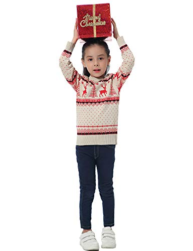Abollria Women Jumpers Christmas Reindeer Long Sleeve Chunky Knitted Ribbed Sweater Jumpers Knitwear Top 7