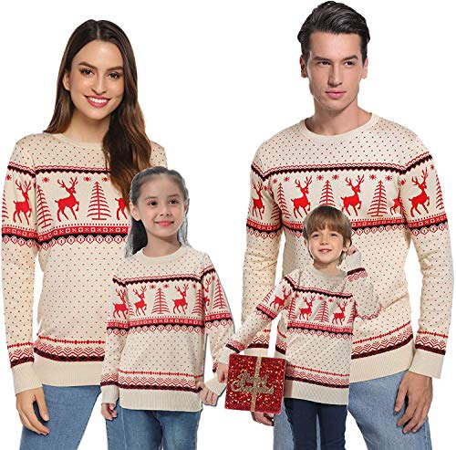 Abollria Women Jumpers Christmas Reindeer Long Sleeve Chunky Knitted Ribbed Sweater Jumpers Knitwear Top 1