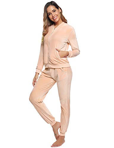Abollria Women Tracksuits Velour 2 Piece Sweatsuit Top and Bottom Casual Loungewear Joggers Set 3